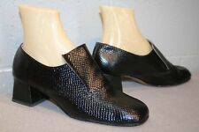 7.5 MOD GoGo Cover Girl NOS Vtg 1960s 1970s Black Embossed Shoe 60s Chunky Heel