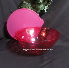 Tupperware New Fuchsia Pink Ice Prisms Acrylic Sheerly Medium Bowl with Seal