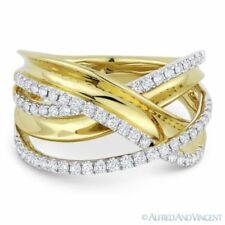 Ring in 14k Yellow & White Gold 0.53 ct Diamond Right-Hand Overlap Loop Fashion