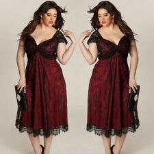 Plus Size Women Solid Sleeveless Lace Long Evening Party Prom Gown Formal Dress