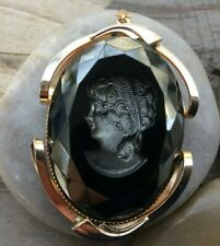 Vintage Black Stone Victorian Cameo Gold Plated Pendant