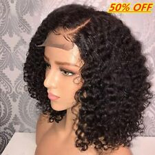 US - Short Lace Front Human Hair Wigs Pre Plucked With Baby Hair Curly Brazilian