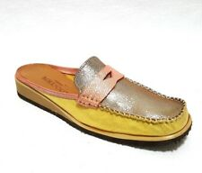 Sesto Meucci Women's Mosca Gold Pink Yellow Soft Leather Mule Sz US 6.5 Narrow
