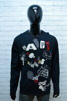 Maglione Desigual Uomo Pullover Taglia XL Sweater Cardigan Nero Felpa Cotone Man