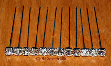12 LUXURY CLEAR REAL DIAMANTE PINS WEDDING FLOWERS/CRAFTS ***NOT ACRYLIC***