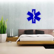 "Star Of Life Medical Ems Emt Wall Decal Large Vinyl Sticker 23"" x 23"""