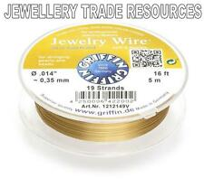 """GRIFFIN GOLD PLATED STEEL BEADING JEWELRY WIRE .014"""" / 0.35mm 16 FT. 19 STRAND"""