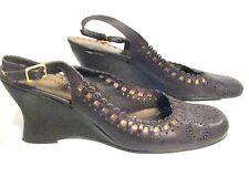 BCBG BCBGirls Shoes brown slingbacks leather mary jane Heels wedge shoe SZ 7.5 B