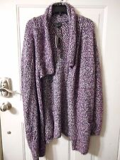 Women's I Jeans by Buffalo Long Sleeve Cardigan Sweater Large Fig/Navy New $85