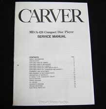 Original Carver MD/A-420 CD Player Service Manual