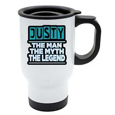 Justy - The Man, The Myth, The Legend - White Reusable Travel Mug