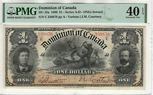 1898 $1 DOMINION OF CANADA DC-13a ONEs INWARD PMG EXTREMELY FINE XF EF 40 EPQ