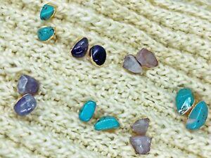 Raw Stone Stud Earrings Quartz Handmade Unique Jewellery Earrings Set for Ladies