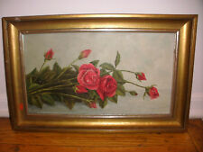 Nice vintage roses flowers still life oil painting illegibly signed