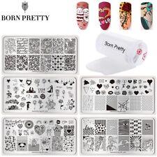 3Pcs/Set Nail Art Sellado Placas Stamper Raspador plantilla de sello de Día de San Valentín