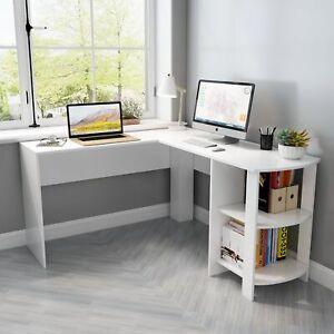 Table d'ordinateur d'angle table de travail bureau d'ordinateur blanc L-forme