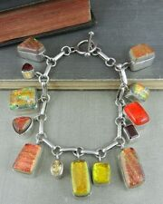 Sterling Silver Red / Orange / Yellow Dichroic Glass & Gemstone Charm Bracelet