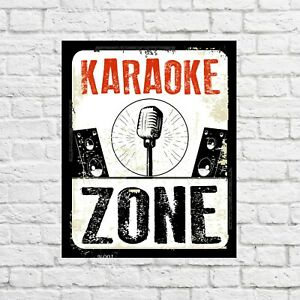 Karaoke zone tin sign, custom gift, funny decor, funny, funny signs, music sign