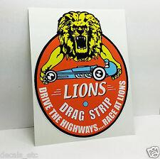 Lions Drag Strip Vintage Style DECAL, Vinyl STICKER, racing, hot rod, rat rod