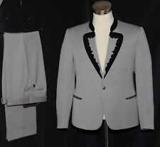 "GRAY WOOL SUIT JACKET & PANTS German Bavarian Tux Wedding VELVET Trim Eu52 42"" M"