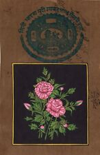Indian Mughal Rose Flower Miniature Painting Moghul Floral Handmade Decor Art