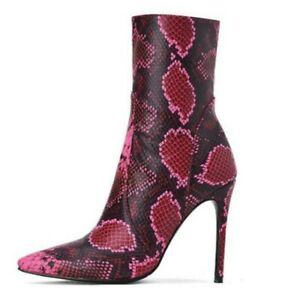 Snakeskin Printed Women's Ladies Pumps Pointy Toe Ankle Boots Shoes 45 46 47 L