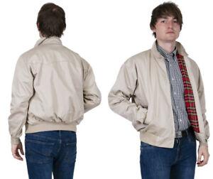 Men's Harrington Jacket Cream Stone Bomber Tartan Lined Skinhead Mods Relco