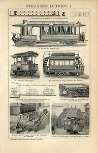 1898 OLD CITY RAILWAY TRAMWAY Antique Engraving Print