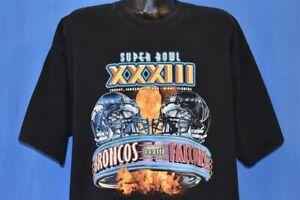 vtg 90s SUPER BOWL XXXIII DENVER BRONCOS FALCONS 1999 NFL t-shirt FOOTBALL XXL