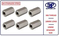 6MM (M6) A4 STAINLESS STEEL THREADED DEEP NUT GR316  6mm X 18mm LONG ST/STEEL