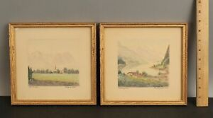 Pair Small JOHANNES KLEINSCHMIDT German Mountain Village Watercolor Paintings NR