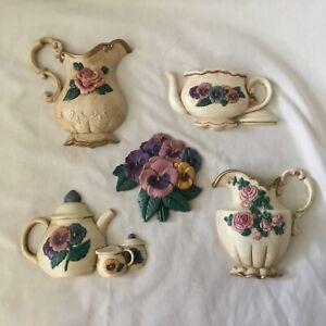 5 Vintage Pansy Teapot Burwood Wall Art Plaque Floral Decor set