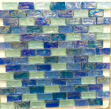 ASLG-2  ACOUSTIC BLUE 1x2 Glass Mosaic Tile for Kitchen Backsplash Spa