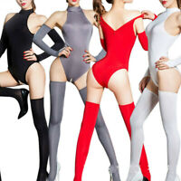 Sexy Women Zipper Open Crotch Jumpsuit Leotard with Stockings Gloves Eager