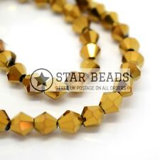 FACETED BICONE CRYSTAL GLASS BEADS 4MM,6MM - PICK METALLIC COLOUR