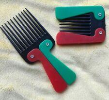 2 VINTAGE AFRO PICKS - Folding Travel Pocket Lift Pick - red/green/black - NEW