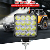 Square 48W LED Work Light 12V 24V Off Road Flood Spot Lamp For Car Truck SUV 4WD