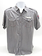 """ED HARDY """"PEACE"""" WOMENS SS WORK BUTTON-DOWN EMBELLISHED SHIRT LARGE - EUC"""