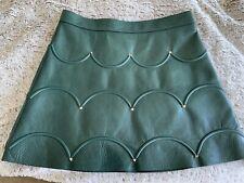 Valentino Rockstud Scalloped A-line Leather Mini Skirt 6 *RARE* NEW