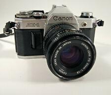 Canon AE-1 35mm Film Camera SLR w Focal Mc 2x Converter Leather Case Vintage