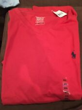 Polo Ralph Lauren V-Neck T-Shirt Size XXL Red with Navy Pony Emblem NWT NEW