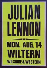 JULIAN LENNON Original Promo Concert Poster 1989 LA The BEATLES John Lennon RARE