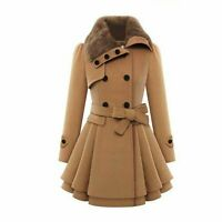 Zeagoo Womens Fashion Faux Fur Lapel Double Breasted Thick Wool Trench Coat Jac