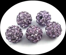 Set of 6 Paved Glass Crystal Rhinestone Disco Ball Beads 10mm Light Amethyst