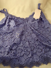 Cabernet Pretty Teal Lacey Camisole 90% Nylon 10% Spandex Small Large XLarge