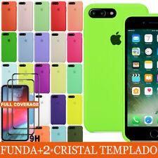 FUNDA+CRISTAL TEMPLADO PARA IPHONE 7 8 PLUS ORIGINAL SILICONA CARCASA CASE COVER