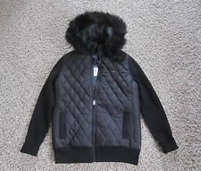 Women's Tommy Hillfiger Fur Hoodie Quilted Jacket Size Small Petite Black New WT
