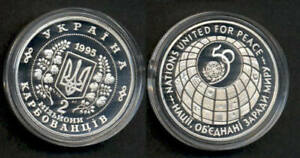 UKRAINE UN 50 year anniversary. Silver proof coin.