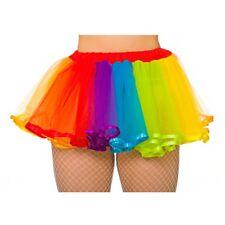 Deluxe Rainbow Bright Tutu Satin Detail Ladies 80s Facy Dress