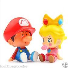 2pcs Super Mario Bros Mario & Peach Princess DIY Action Figure Micro landscape